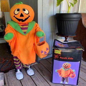 Totally Ghoul 36″ Porch Kid Jack O Lantern Pumpkin